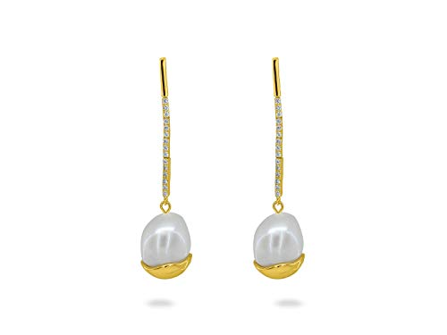 Fronay Co - Dangling Gold Capped Freshwater Cultured Pearl Earrings- Gold Plated Silver