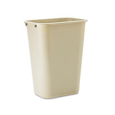 Soft Molded Plastic Wastebasket, Rectangular, 10 1/4 gal, Beige