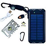 Solar Power Bank Bundle   Waterproof External Battery Charger w/Dual USB Ports for Phone Tablet Small Devices   Led Flashlight Emergency Whistle Compass Paracord Lighter   Multi-Tool w/Money Clip