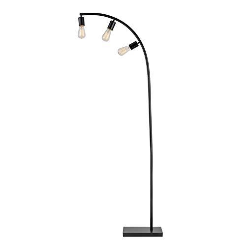 Arc Floor Lamp 3 Lights Arced Lighting Black Light Fixture Standing Bedroom Lights Indoor Incandescent Vintage Style Curved Arm, Metal ()