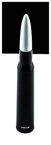 VMS Racing 50 Cal Caliber BLACK WHITE TIP BULLET ANTENNA Heavy Gauge CNC Machined Billet Aluminum Short Compatible with GMC SIERRA 1500 2500 3500 07-19