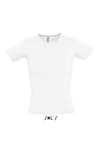 SOLS Lady 220 Ladies V-Neck, White, L