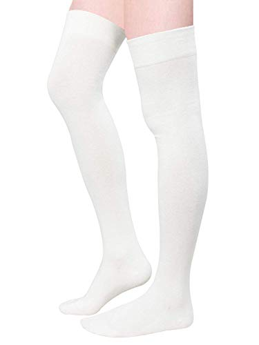 Zando Women Plus Size Thigh High Socks Over Knee Tube Stocking Sock Cotton High Leg Warmers Warm Cosplay Legging Sock 1 Pair White One Size
