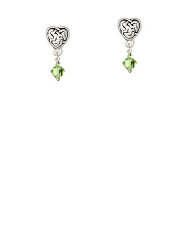 (August - Lime Green - 6mm Crystal Bicone - Celtic Heart Earrings)