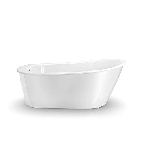MAAX 105797-000-002 Sax Oval Fiberglass Soaking Bathtub with and End Drain, White