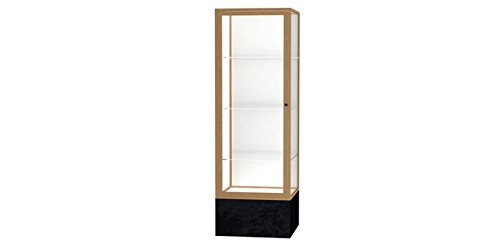 (Monarch Series Floor Display Case Base Color: Black Marble, Frame Color: Champagne Gold, Case Backing: White Laminate )