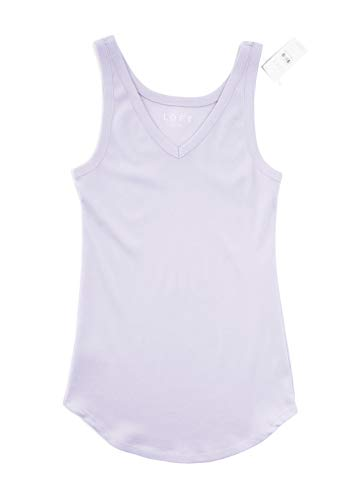 Ann Taylor LOFT Women's Essential Cotton V-Neck Tank Top (Large, Dusty Lavender) Ann Taylor Loft Sleeveless