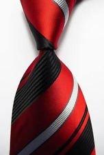 Playboy Bunny Costume Makeup (jacob alex #38119 Classic Necktie Striped Red Black White JACQUARD WOVEN 100% Silk Men's Tie)