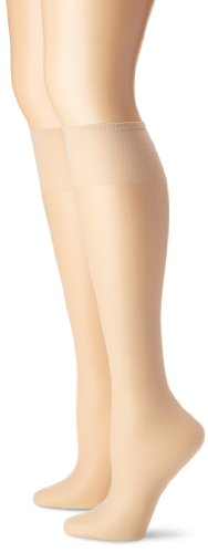 Hanes Silk Reflections Women's 2-Pack Knee High Sandalfoot, Travl Buff, One Size
