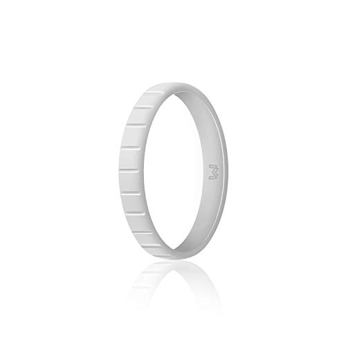 WIGERLON Womens Silicone Wedding Ring &Rubber Wedding Bands,Skin Safe for Workout and Sports Width 3mm]()