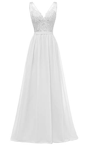 - Changuan V-Neck Bridesmaid Dresses Long Chiffon Lace A-Line Beaded Wedding Party Gowns 2019 Size 10 White