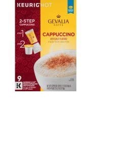 Gevalia Cappuccino Espresso Coffee K-Cup?? Pods & Froth Packets 9 ct Box