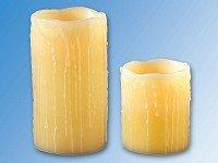 2er-Set LED-Wachs-Kerzen mit Luftzug-Sensor f/ür An//Aus-Pustfunktion aus echtem Wachs 10+15cm