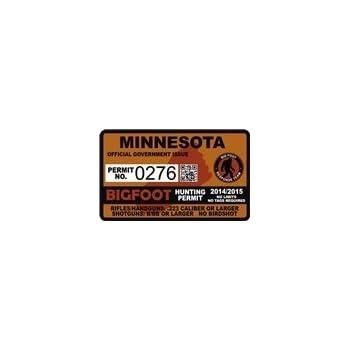 "4/"" Maine ME Bigfoot Hunter Hunting Permit Sticker Sasquatch Vinyl Decal"