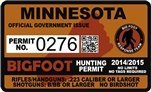 "Minnesota Bigfoot Hunting Permit 2.4"" x 4"" Decal Sticker"