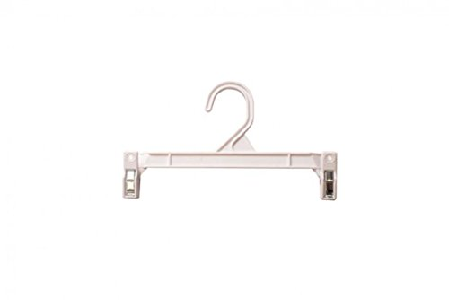 NAHANCO H29W Pinch Clip Plastic Hook Skirt/Slack Hanger, 9 1/2'', White (Pack of 100) by NAHANCO