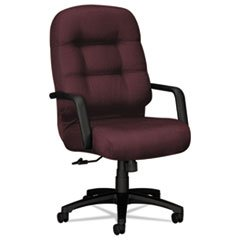 Reg 2090 Pillow-Soft Series Executive High-Back Swivel/Tilt Chair, Wine Fabric/Black