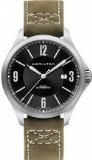 Hamilton Aviation Black Dial SS Olive Leather Automatic Men's Watch H76665835