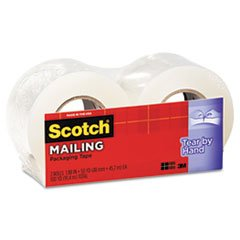 * Tear-By-Hand Packaging Tape, 1.88'' x 50 yards, 1-1/2'' Core, Clear, 2/B