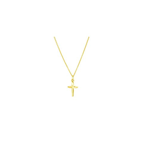 14k Solid Yellow Gold Cross Necklace With Italian Chain (Band Oval Cross)