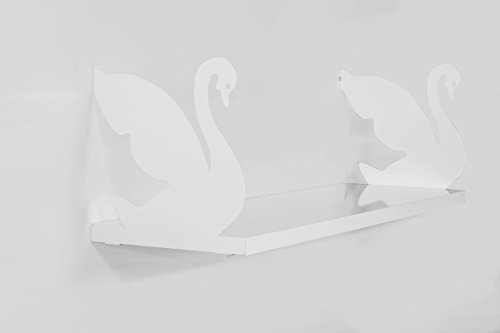 LaModaHome Two White Swans Wall Shelf, 100% Melamine Coated Particle Board - Size (23.6