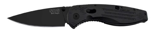 SOG Specialty Knives and Tools AE-22 Mini Aegis, 3-Inch Straight Edge Folding Knife, Black TiNi, Outdoor Stuffs