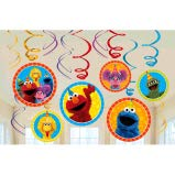 Sesame Street Elmo Dangling Swirl Decorations Birthday Party