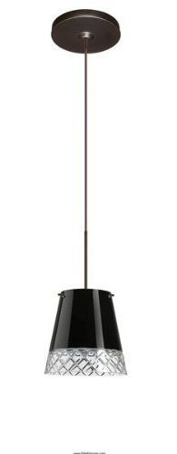 Besa Lighting 1XP-4477BD-BR Amelia 6 1-Light 12-volt Mini-Pendant, Black and Hand-Cut Glass Shade with Bronze Finish