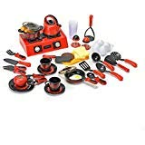 Toy Kitchen Set With Stovetop, Utensils, and Play Food; 44 pieces, by Brunfen Toys