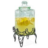 Circleware Tuscany Fruit Pattern Glass Beverage Dispenser with Metal Stand