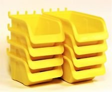 8 NEW Yellow Parts Storage Bins - Hooks to Peg Tool Board - Workbench Pegboard Trimiurti Online-Store