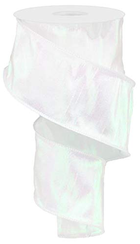 Iridescent Dupioni Wired Edge Ribbon, 10 Yards (White, 2.5