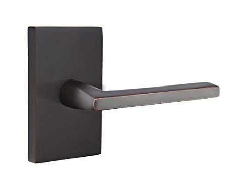 Emtek Privacy Set, Modern Rectangular Rosette, Helios Lever, Oil Rubbed Bronze, RH (Emtek Door Handle)