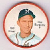 1962 salada tea coins (Baseball) Card# 166 Lou Burdette of the Milwaukee Braves Ex Condition