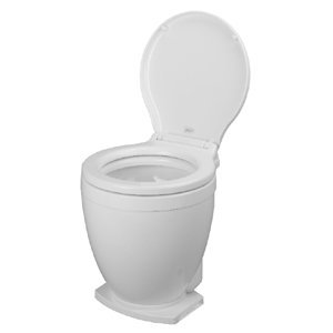 24v Electric Toilet - Jabsco 58500-0012 Lite Flush Marine Toilet, Electric Head, Foot Switch, 12 Volts