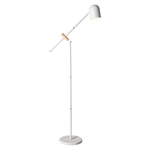 (HUANGDA Floor lamp European Swing Arm Floor Lamp, Adjustable Creative Wood Bedroom LED Floor Lamp, White)
