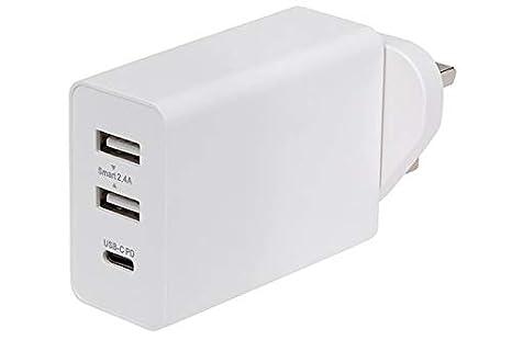 Maplin - Cargador de Pared de 3 Puertos CA (240 V, 2 USB-A ...