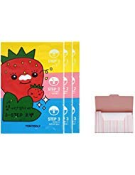 Seedless Strawberry Seeds 3-step Nose Pack 3 Set Bundle with Oil Blotting Paper