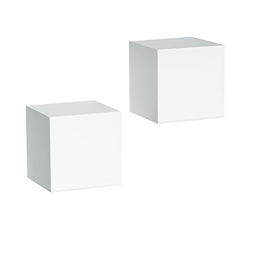 Shelf-Made Decorative Wall Cubes, Pair, 5-Inch x 5-Inch, (White Cube)