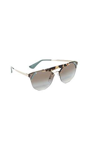 Prada Women's Ornate Aviator Sunglasses, Gold Havana/Grey, One - Rimless Prada Sunglasses