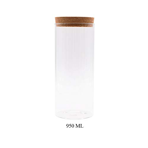 JY Collection Air Tight Storage Jar, Glass Storage Tank with a Natural Bamboo Lid, 450 ML, 500 ML, 650 ML, 700 ML, 950 ML (Cork, 950ml)