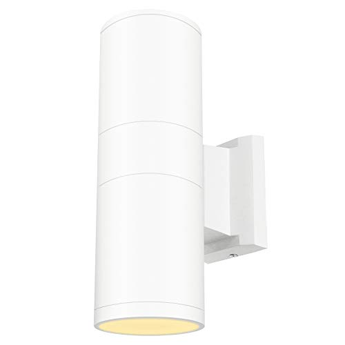 - White Fixture - LED Outdoor Wall Sconce Light Cylinder Up Down Lamp Exterior Patio Lighting 20W Waterproof IP65 (Warm White 3000K), 5 Years Warranty