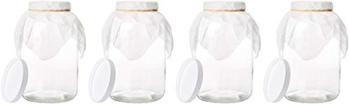 4 Pack - 1 Gallon Mason Jar - Glass Wide Mouth Kombucha Jar - Home Brewing and Fermenting Kit with Cheesecloth Filter, Rubber Band and Plastic Lid - by Kitchentoolz