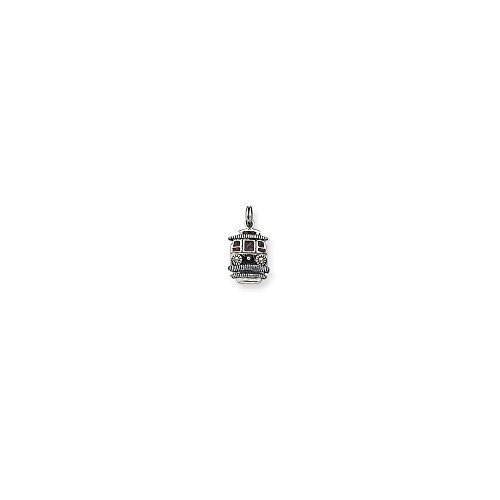 Q Gold Jewelry Pendants & Charms Themed Charms Sterling Silver Maroon Enameled Trolley Charm