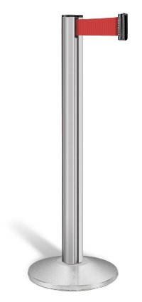 Beltrac Retractable Belt Stanchion, Satin Aluminum with 13-foot Red Belt