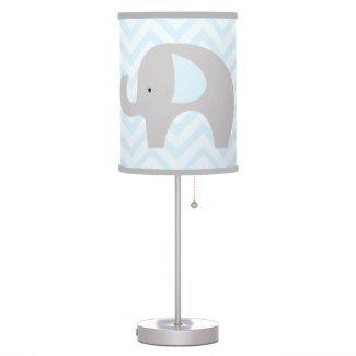 Blue And Gray Elephant With Chevron Stripes Nursery Lamp / Gray Trim Shade