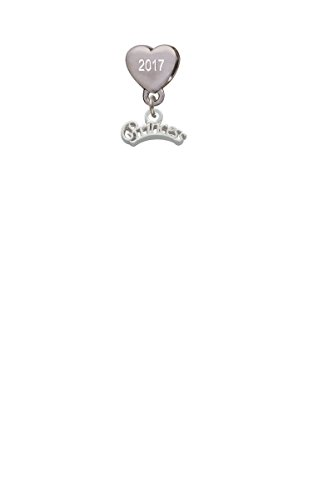 - Script ''Princess'' Custom Year Stainless Steel Heart Bead Charm