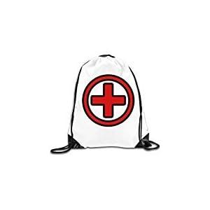 WLF Men's Women's Print Shoulder Drawstring Bag Port Bag Backpacks String Bags School Rucksack Gym Bag Cartoon First Aid Symbol For Medical Care And Emergencies White.