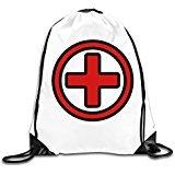 WLF Men's Women's Print Shoulder Drawstring Bag Port Bag Backpacks String Bags School Rucksack Gym Bag Cartoon First Aid Symbol For Medical Care And Emergencies White. (Symbol Circle A Perfect)