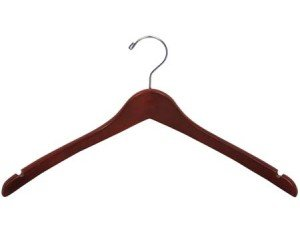 Wooden Curved Top/Coat Hanger, Walnut Finish with Chrome Hardware, Box of 100 by The Great American Hanger Company by The Great American Hanger Company